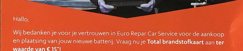 Euro Repar, brandstofkaart, batterij, Garage Braeken, Pelt